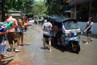 Everyone joins in the fun at the yearly water festival, Songkran