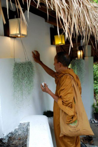 Koh Tao's Local monks blessing the properity at our Grand Opening  Jan 2012